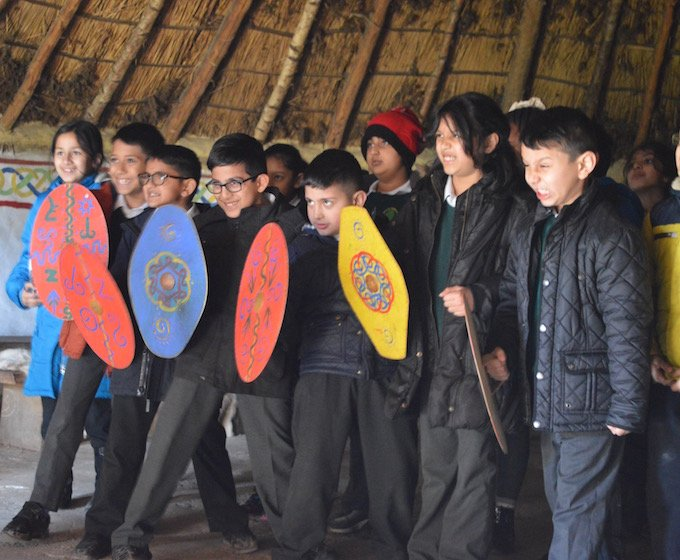 warrior day trip at celtic harmony, children with shields
